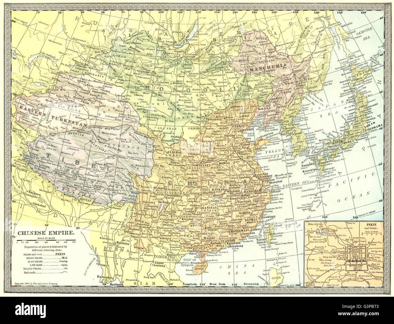CHINESE EMPIRE. Manchuria Eastern Turkestan Tibet. Peking/Beijing inset 1907 map - Stock Image