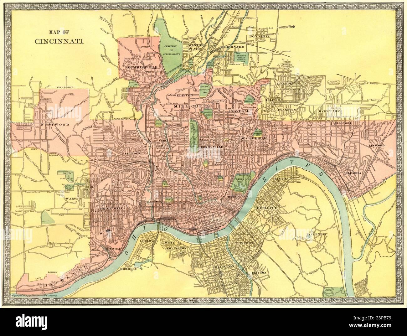 Cincinnati Ohio Map Stock Photos & Cincinnati Ohio Map Stock Images on