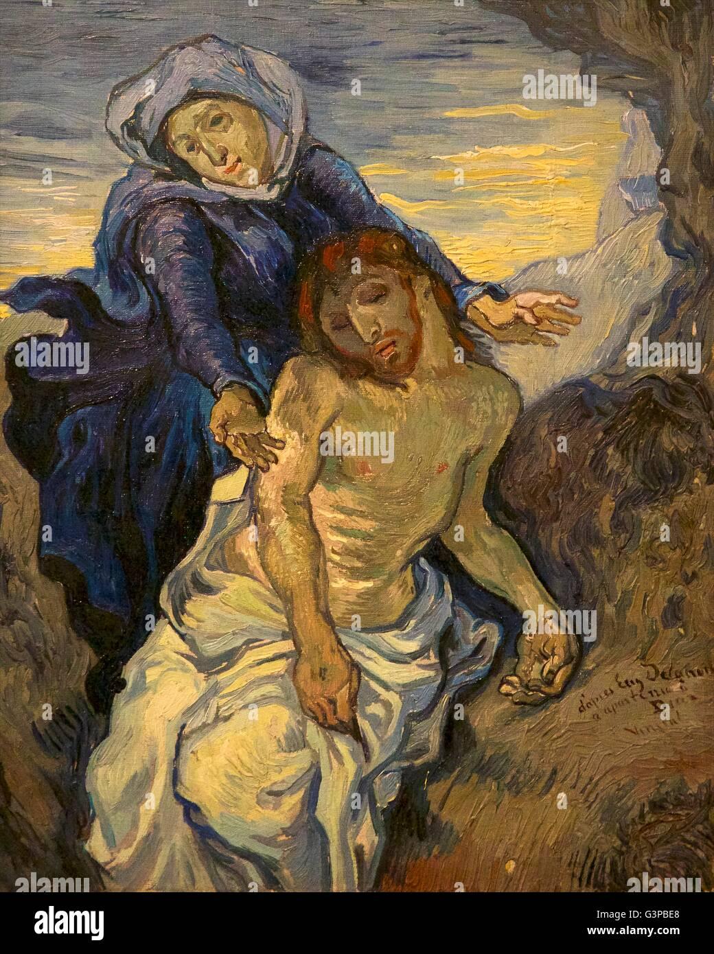 Pieta, by Vincent van Gogh, circa 1890,  Vatican Museums, Rome, Italy - Stock Image