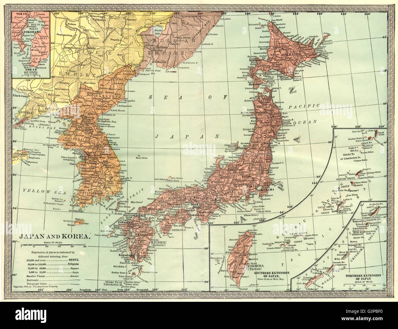 Japan korea formosataiwan inset tokyo bay yokohama 1907 japan korea formosataiwan inset tokyo bay yokohama 1907 antique map gumiabroncs Images