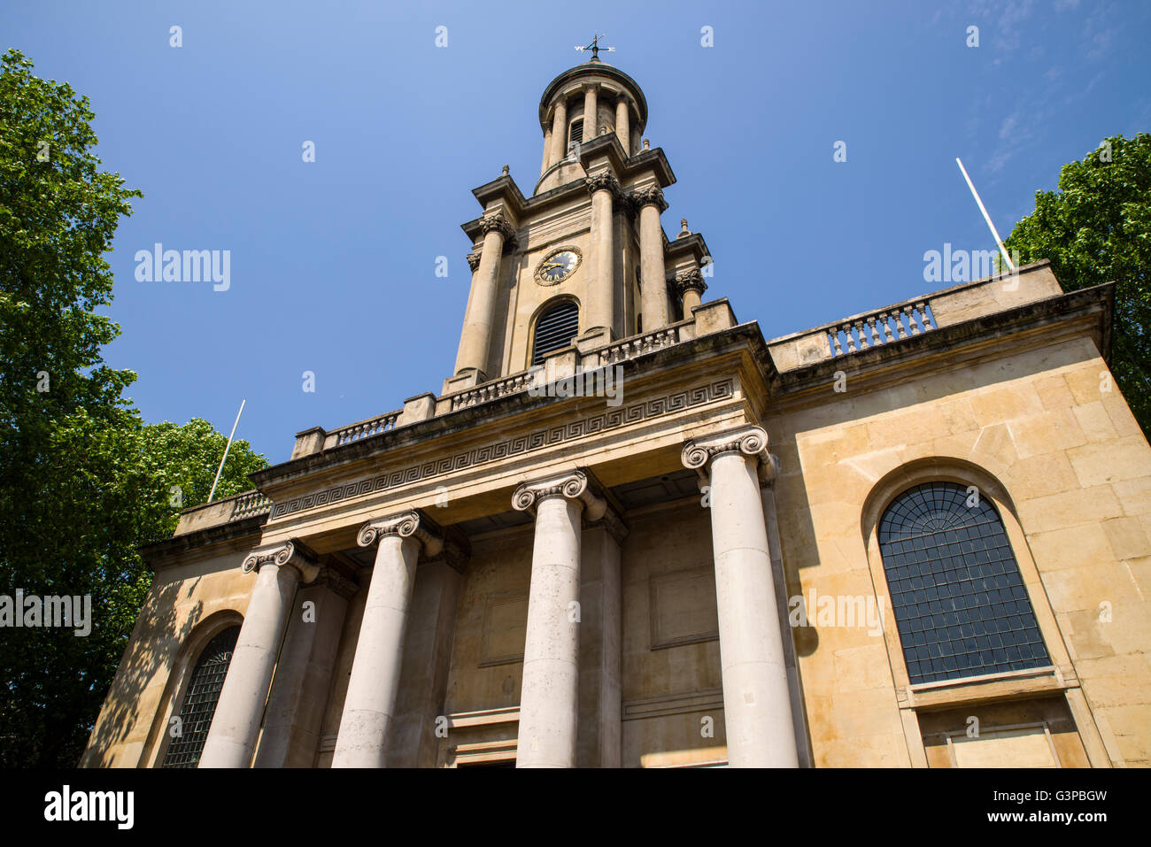 Looking up at the impressive Holy Trinity Church in Marylebone, London. - Stock Image