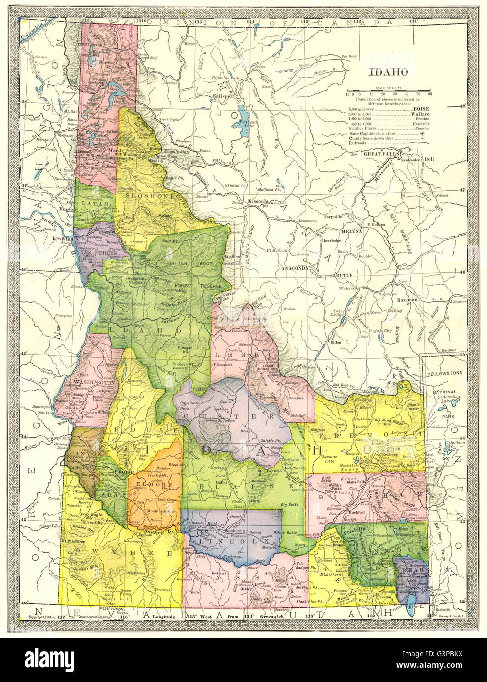 IDAHO state map. Counties, 1907 Stock Photo: 105598302 - Alamy