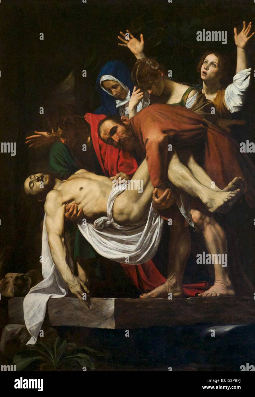 The Entombment of Christ,  by Caravaggio,1602–1603, Pinacoteca, Vatican Museums, Rome, Italy - Stock Image
