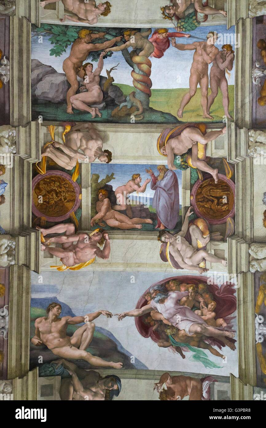Creation of Adam and Eve and Expulsion from Garden of Eden, frescoes, ceiling of Sistine Chapel, by Buonarroti Michelangelo, - Stock Image