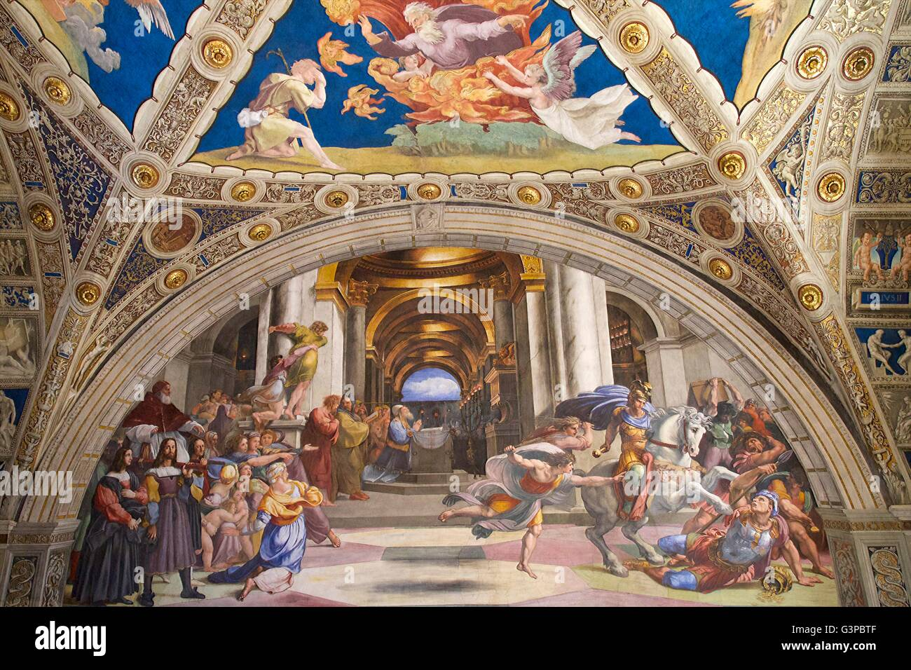 Expulsion of Heliodorus from the Temple, 1511-1512, Raphael Rooms, Apostolic Palace, Vatican Museums, Rome, Italy - Stock Image