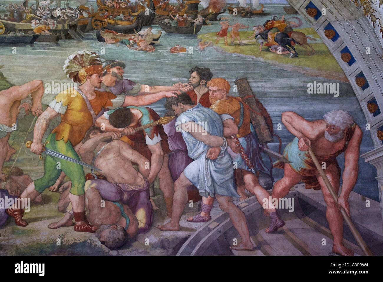 Detail of Battle of Ostia, Room of Fire in the Borgo, 1514-1515, Raphael Rooms, Apostolic Palace, Vatican Museums, - Stock Image