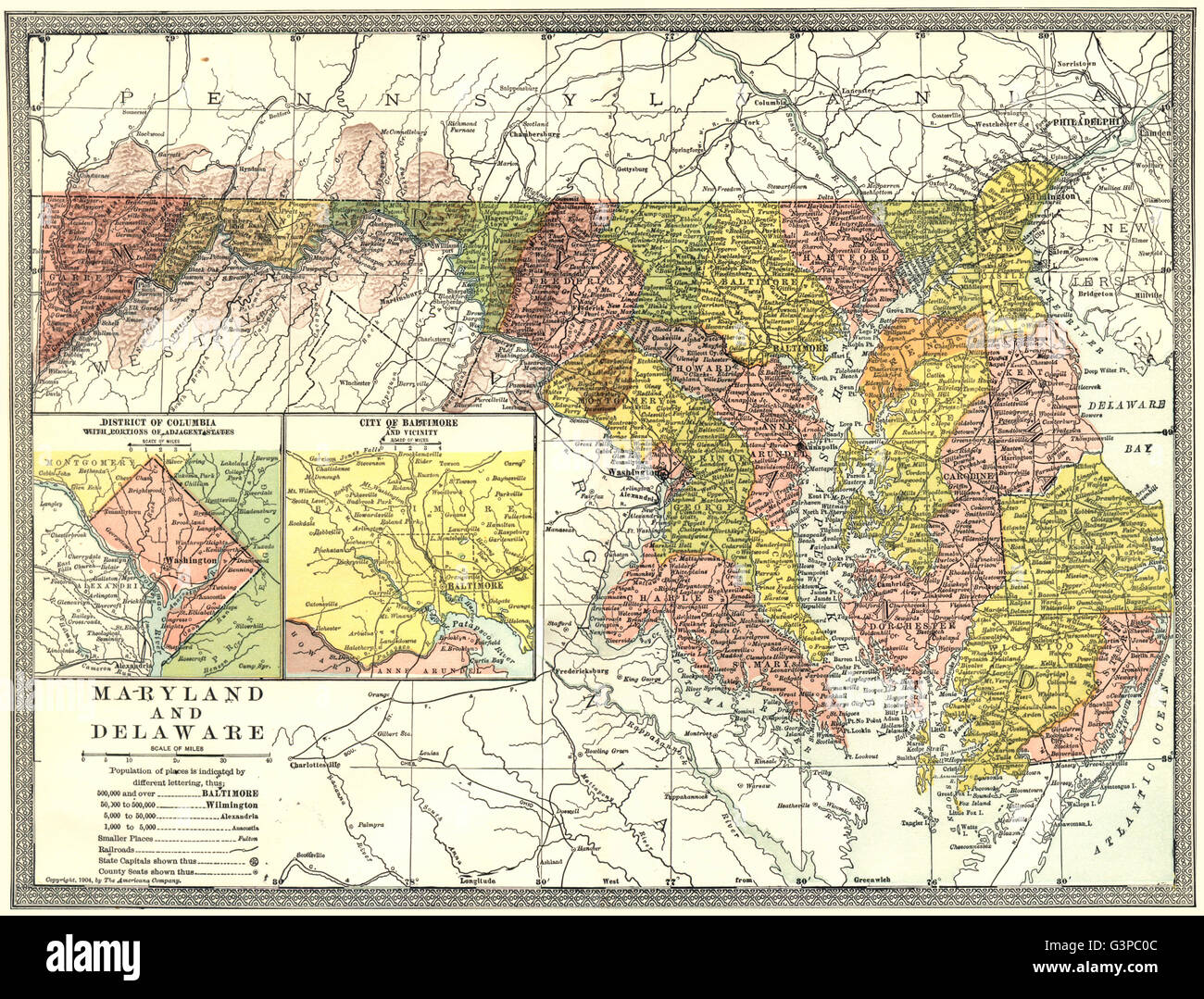 MARYLAND & DELAWARE state map. District of Columbia. Baltimore plan ...