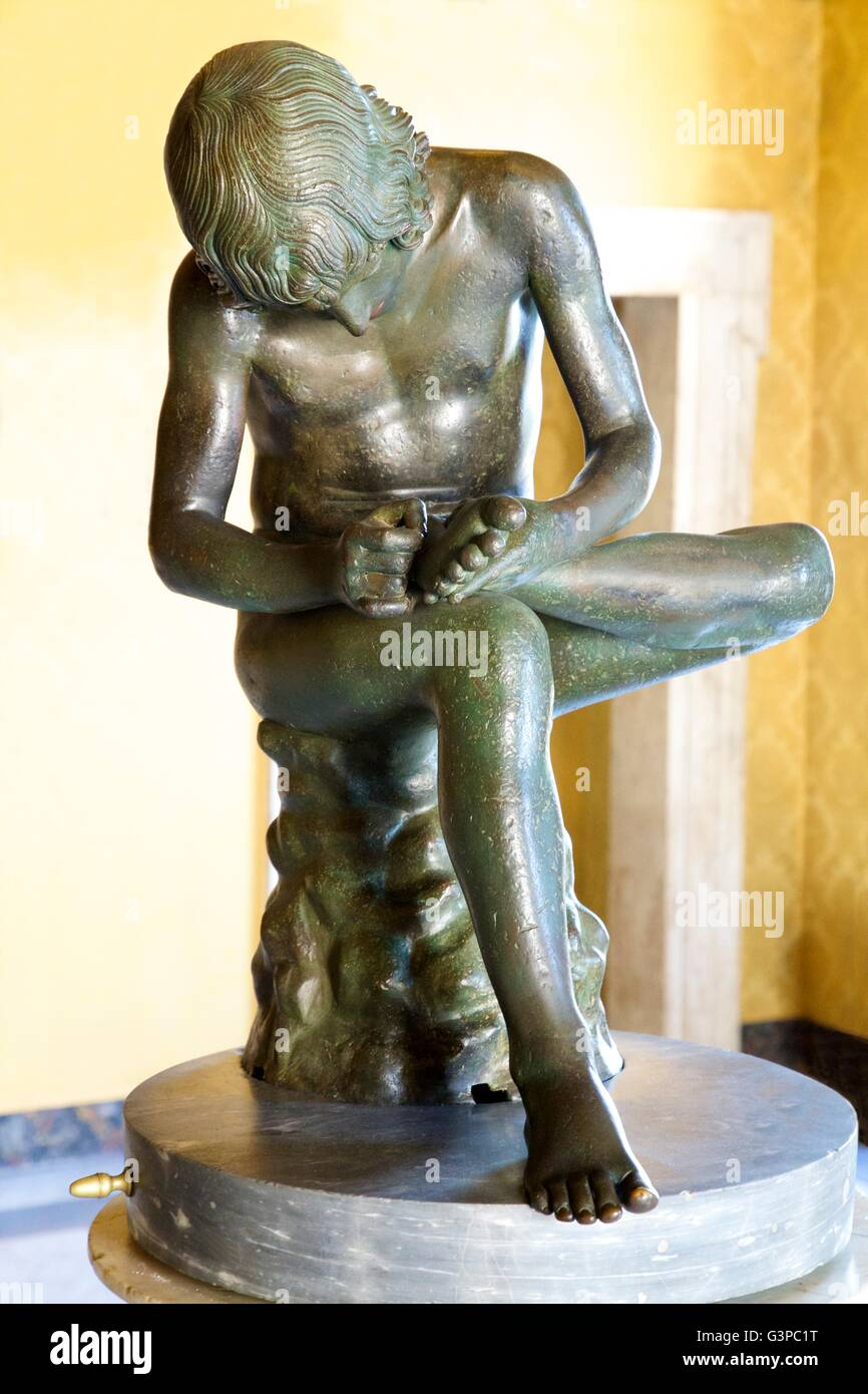 Boy removing thorn, 1st Century BC, Hall of the Triumphs, Palazzo dei Conservatori,  Capitoline Museum - Stock Image