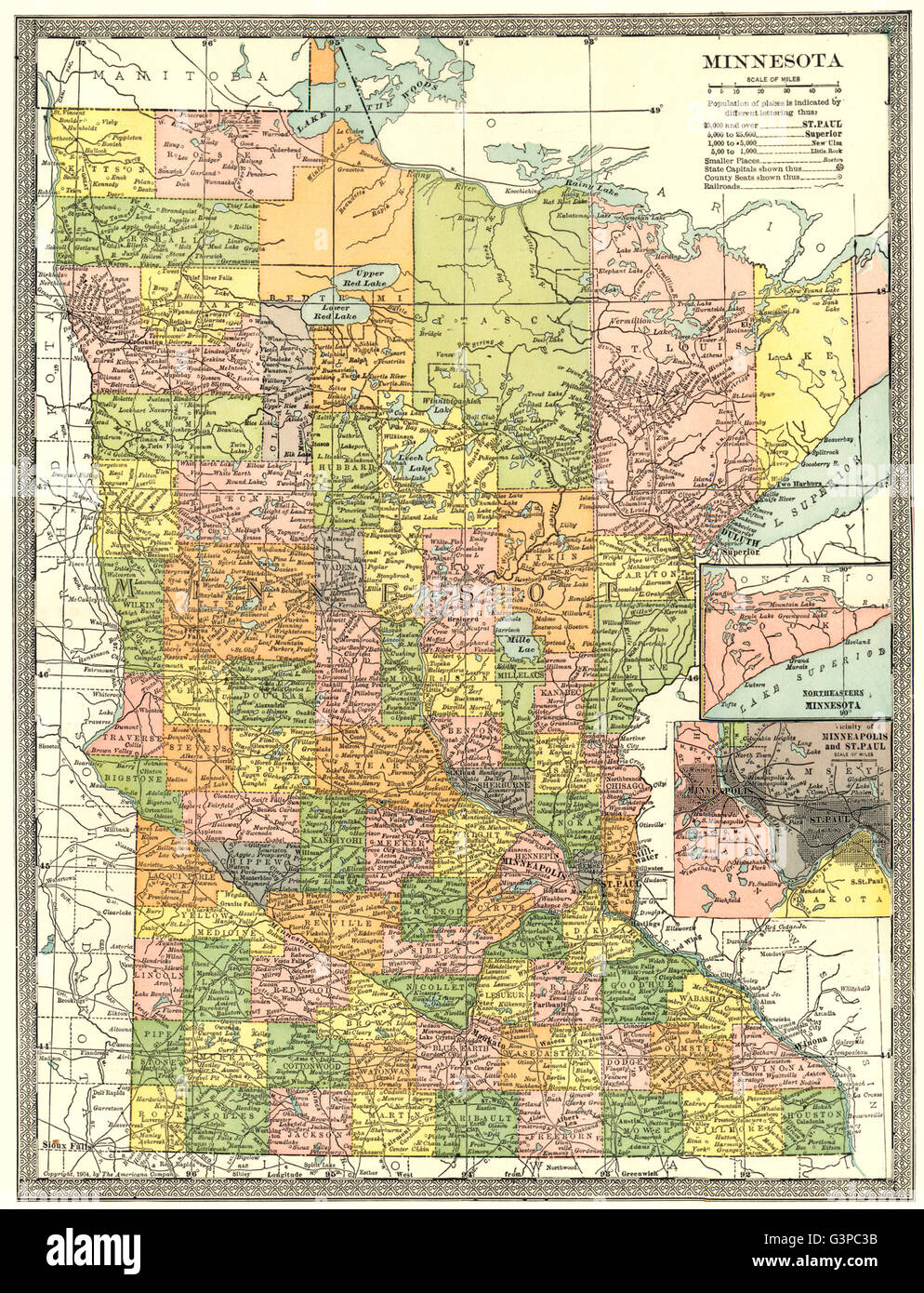 Minnesota State Map Counties Inset Minneapolis St Paul Environs