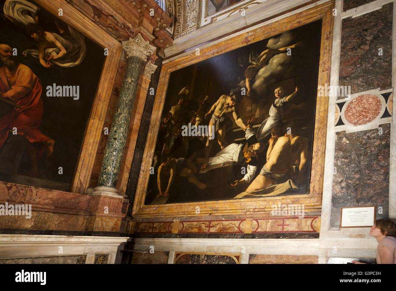 Martyrdom of St Matthew, by Caravaggio, 1599-1600, Contarelli Chapel, Church of San Luigi dei Francesi, Rome, Lazio, - Stock Image