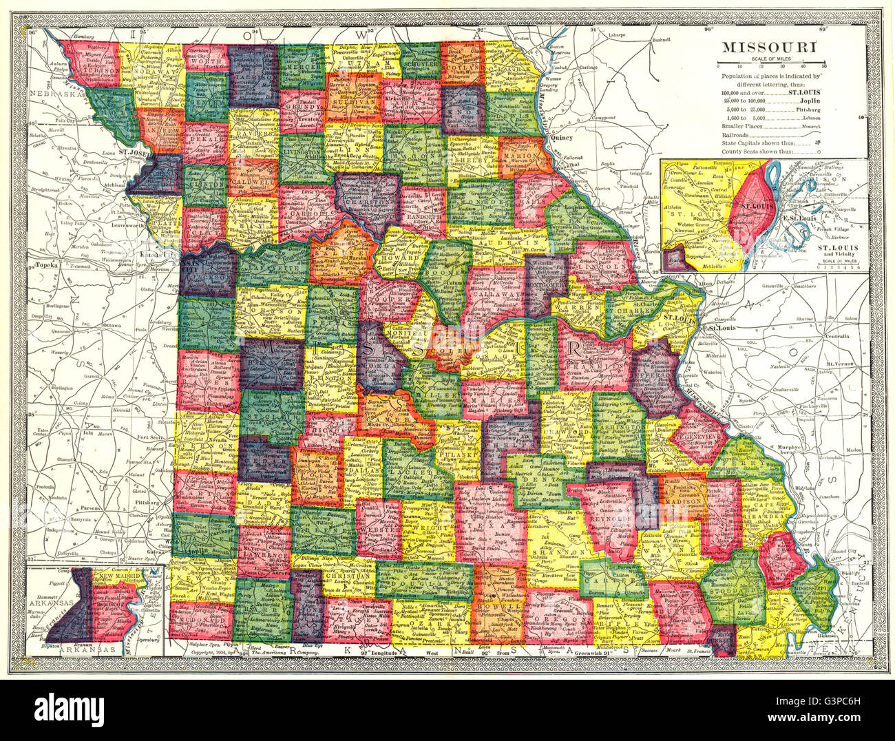 St Louis State Map.Missouri State Map Counties Inset St Louis Environs 1907 Stock