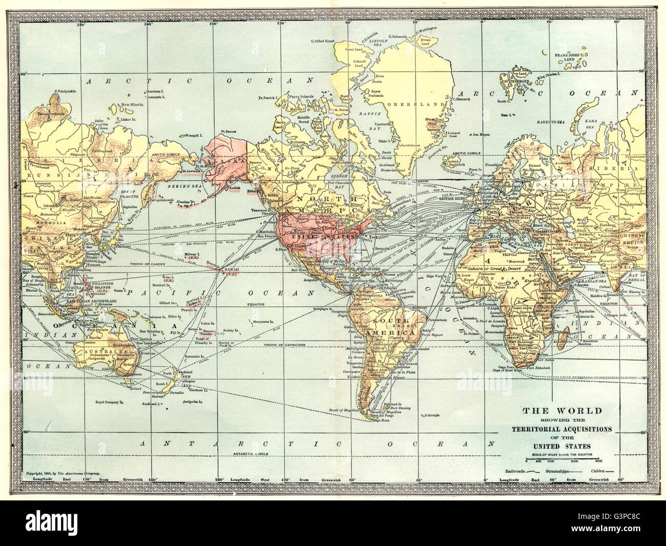 The World showing United States territorial acquisitions Stock Photo ...
