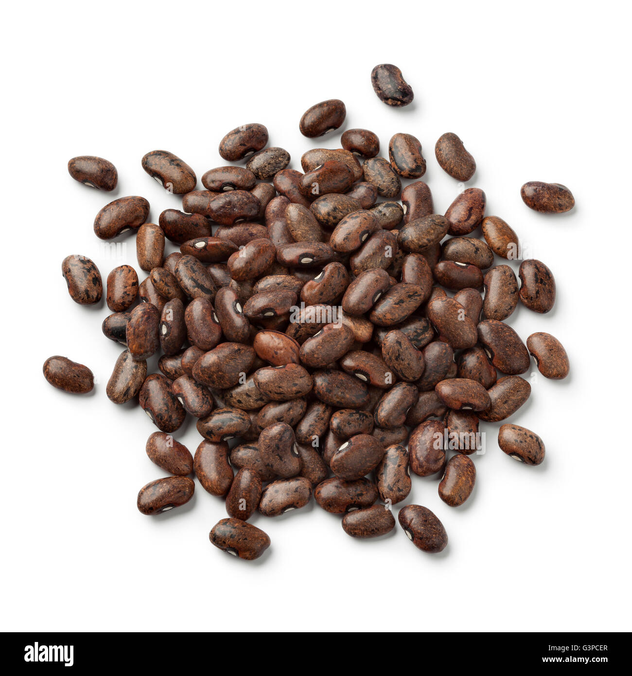 Heap of dried moro beans on white background - Stock Image