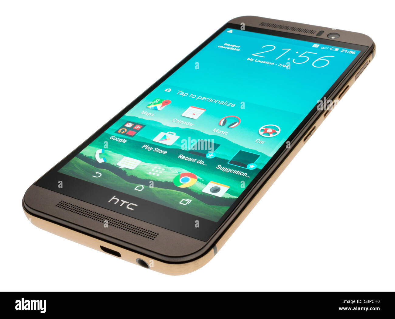 HTC One M9 mobile phone. Smartphone from Taiwan. Cellphone with home screen and app icons. - Stock Image