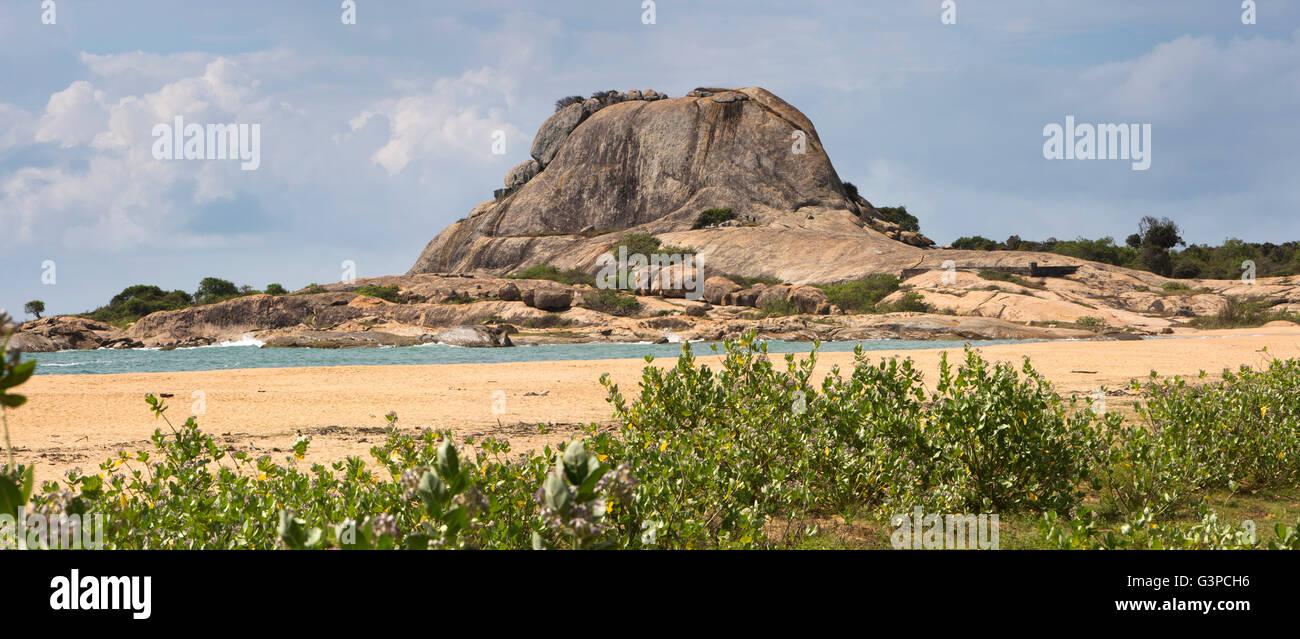 Sri Lanka, Yala National Park, Palatupana beach, landmark rocky headland, panoramic Stock Photo