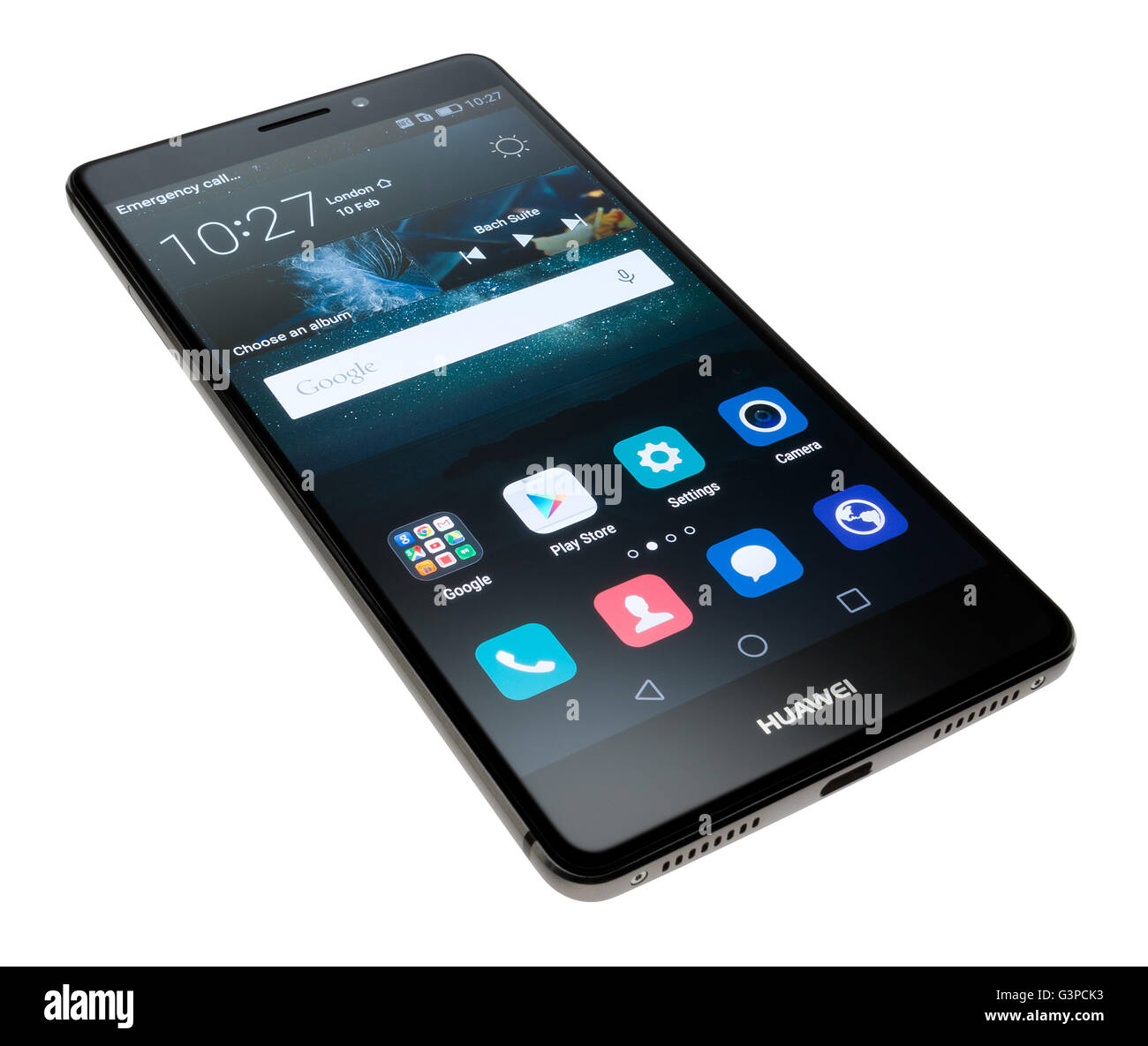 Huawei Mate S mobile phone or cellphone. Screen showing icons. - Stock Image