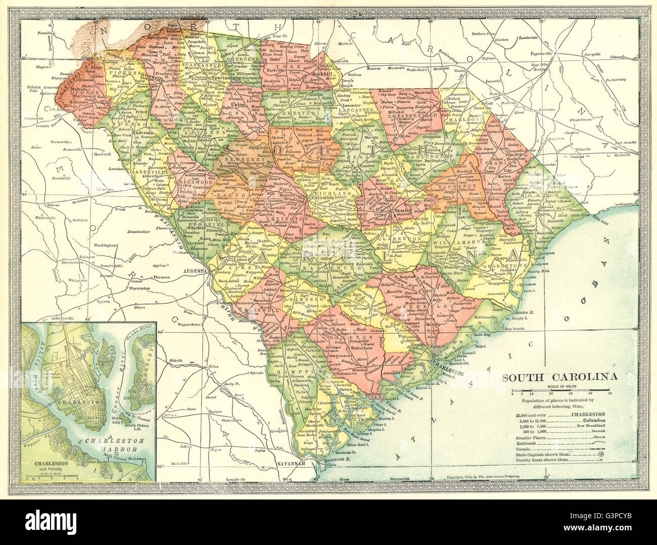 SOUTH CAROLINA state map. Counties. Charleston harbour & environs ...