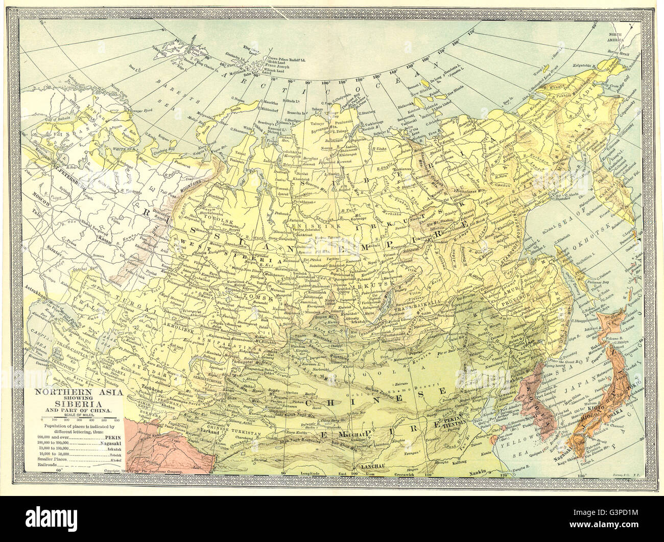 Northern asia siberia and part of china russia in asia 1907 stock siberia and part of china russia in asia 1907 antique map gumiabroncs Gallery