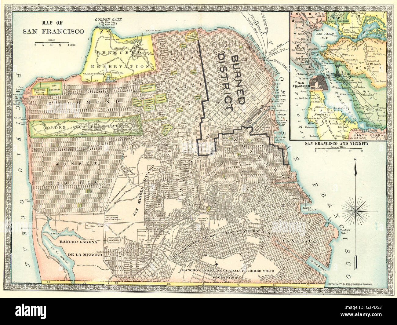 1906 Earthquake Map.San Francisco Town City Plan Showing Area Destroyed In 1906 Stock