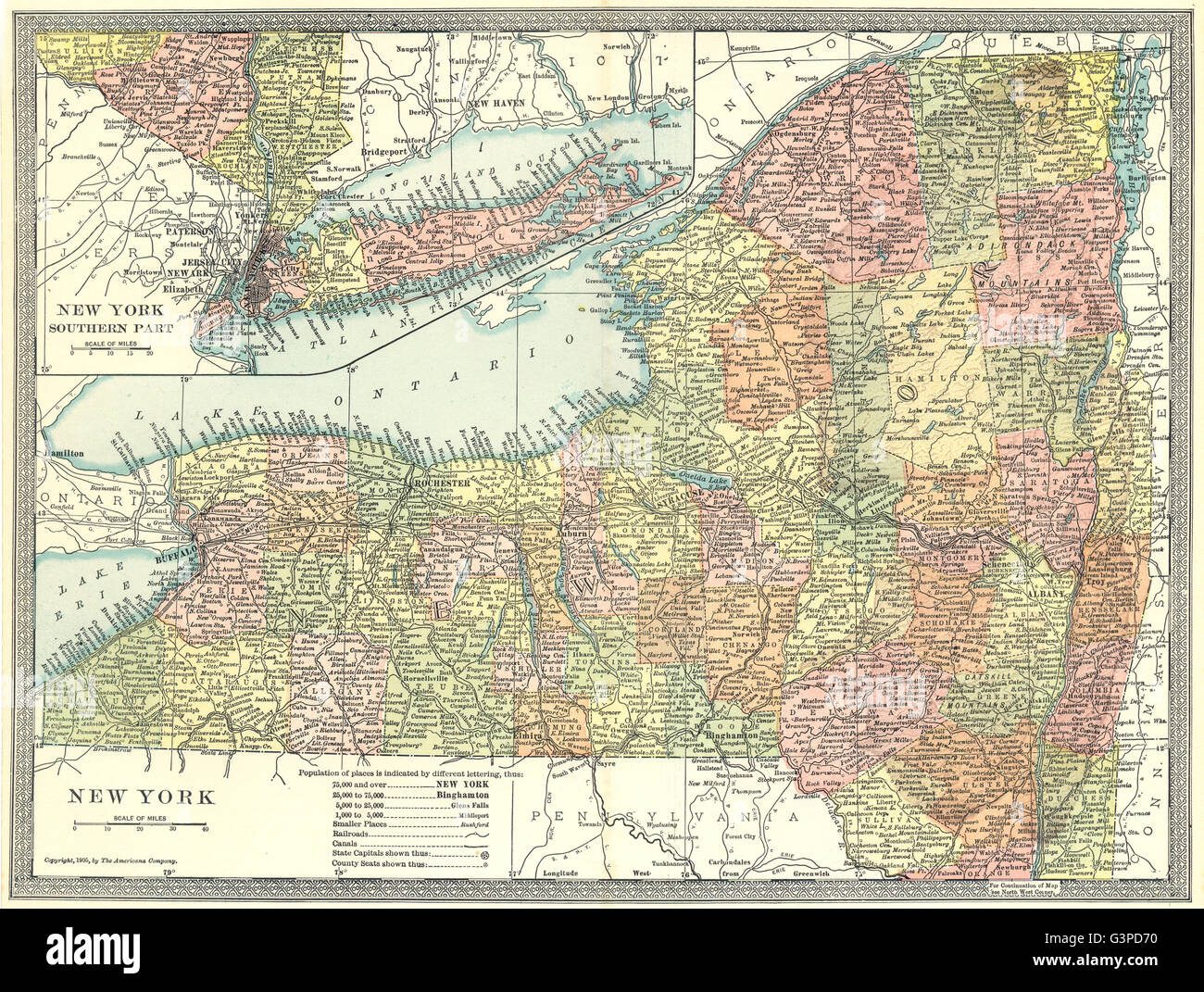 NEW YORK STATE map. Counties, 1907 Stock Photo: 105599508 - Alamy
