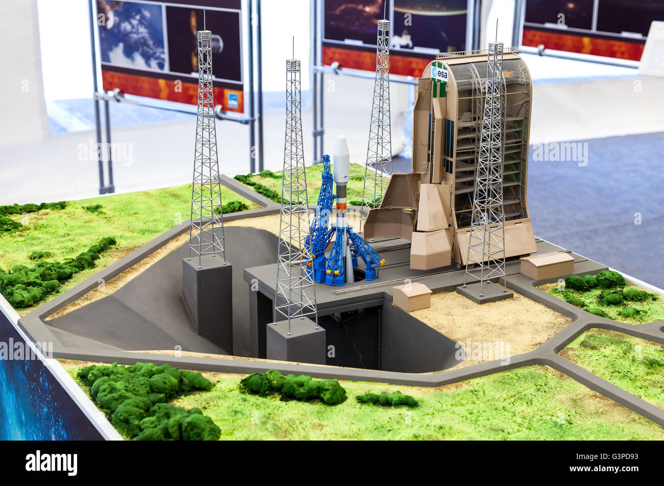 Landscape layout 'Space rocket Soyuz at the Guiana Space Centre' at the free exposition - Stock Image