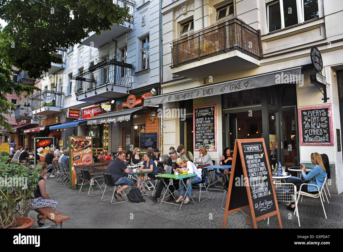 outside cafe bar restaurant bohemian friedrichshain kreuzberg stock photo 105599599 alamy. Black Bedroom Furniture Sets. Home Design Ideas