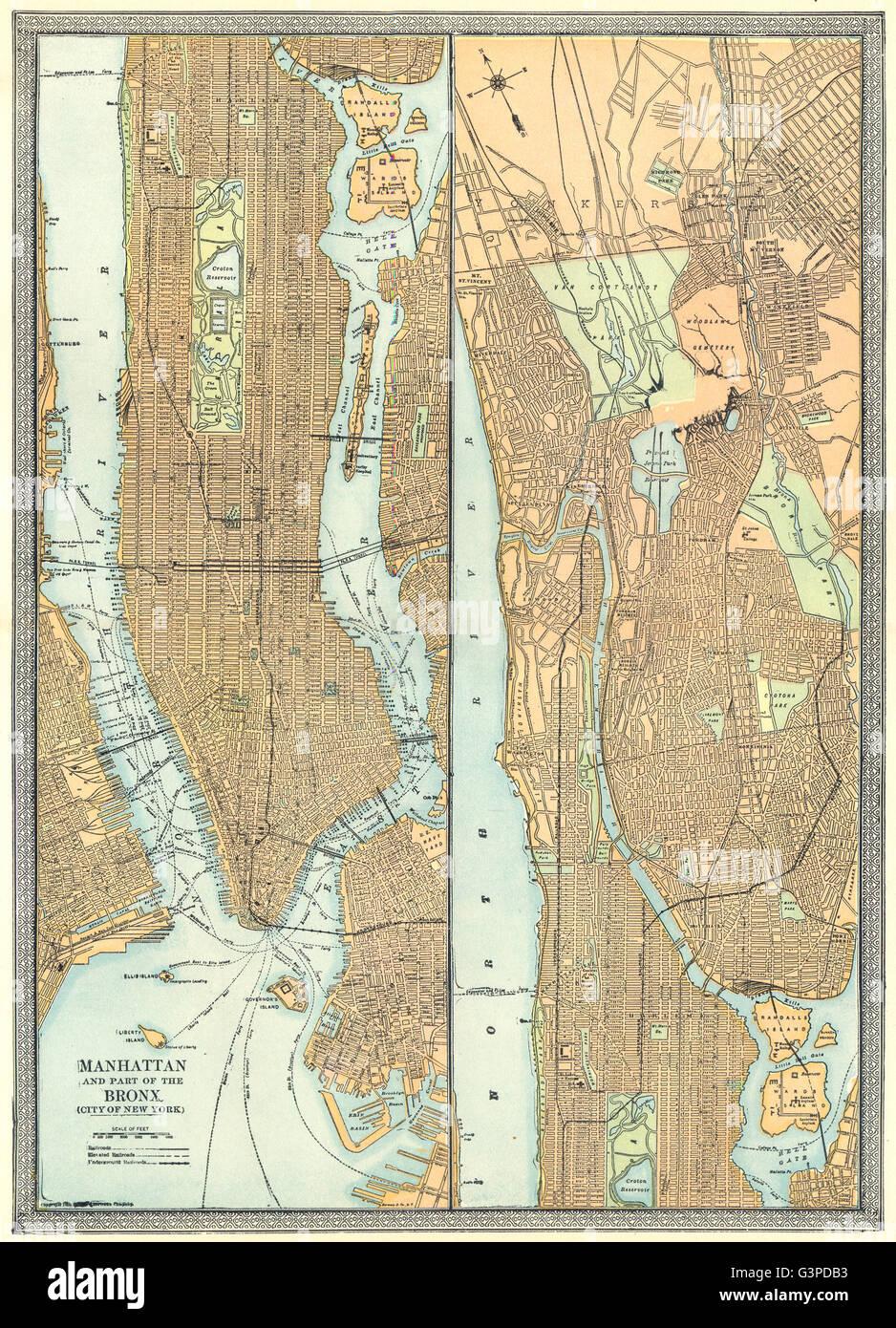 Map Of New York Bronx.Manhattan Town City Plan Bronx New York City 1907 Antique Map