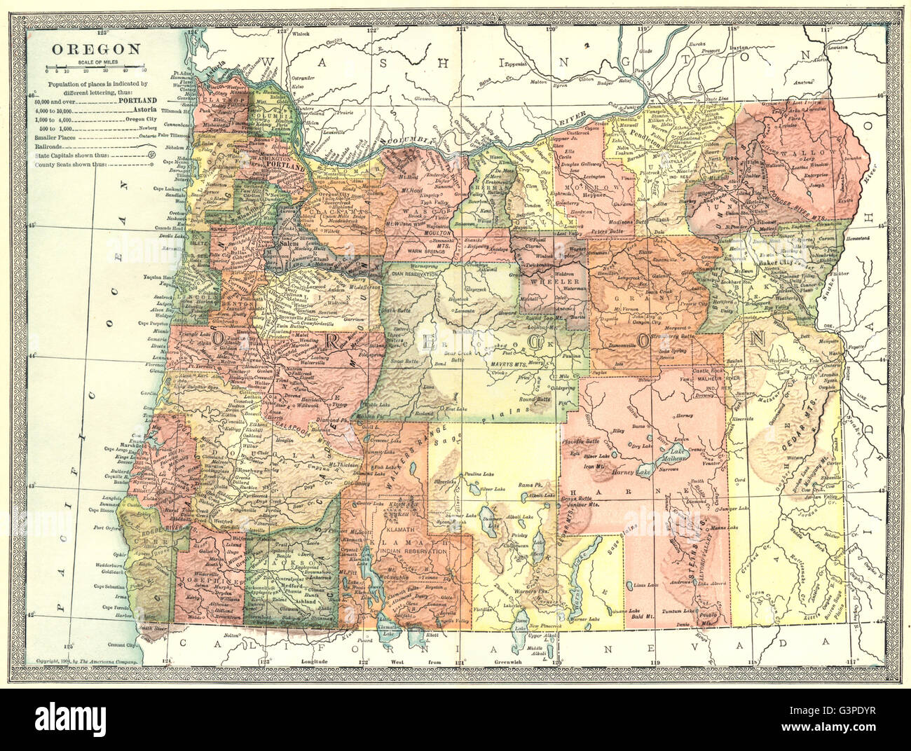 Map Of Oregon State Stock Photos & Map Of Oregon State Stock Images ...