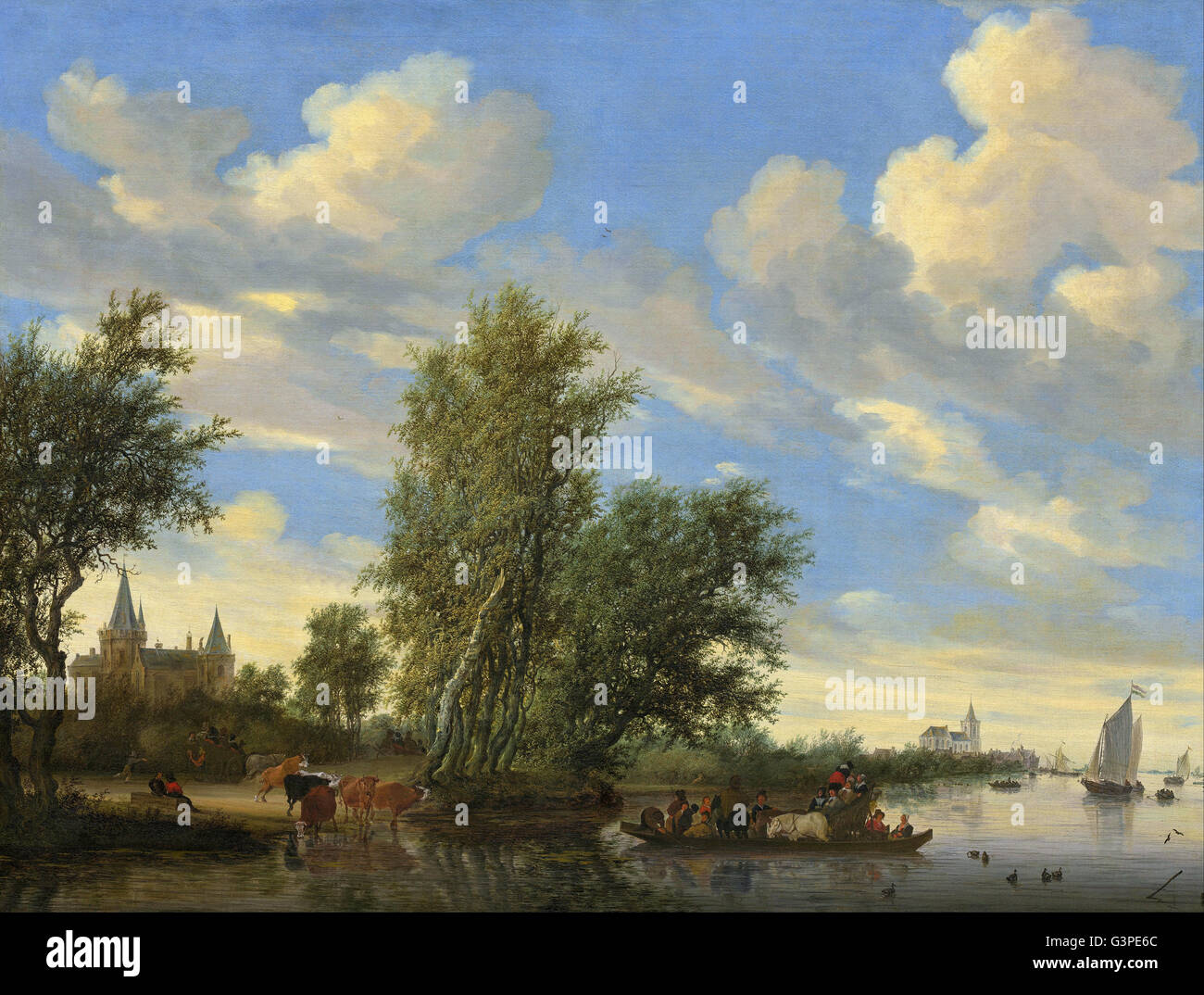 Salomon van Ruysdael - River Landscape with Ferry - National Gallery of Art, Washington DC Stock Photo