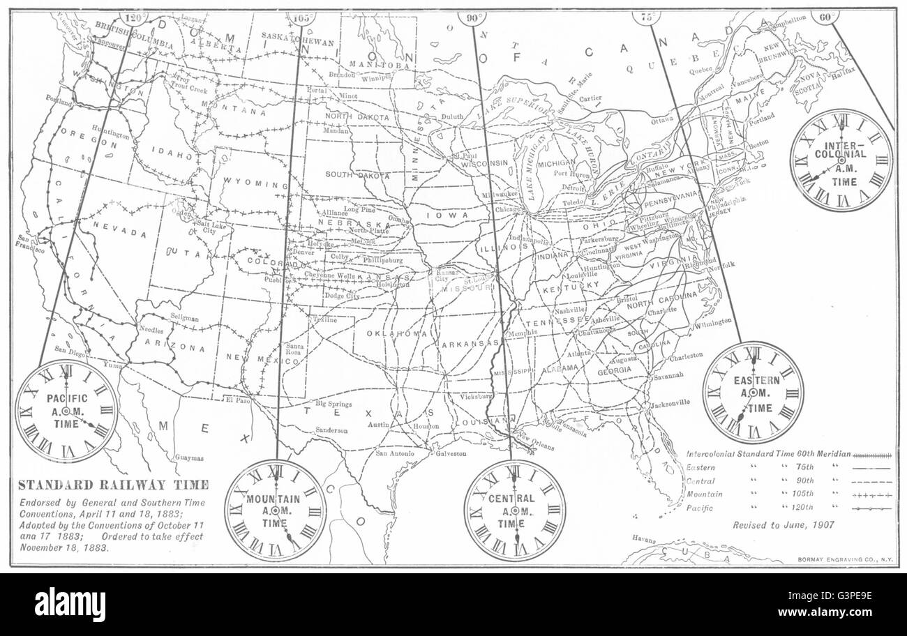 United States Standard Railway Time Inter Colonial Pacific Eastern