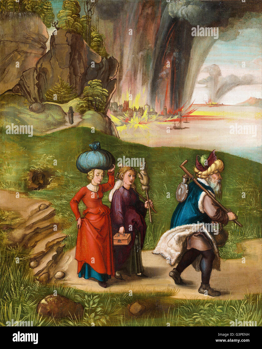 Albrecht Durer - Lot and His Daughters (reverse) - National Gallery of Art, Washington DC - Stock Image