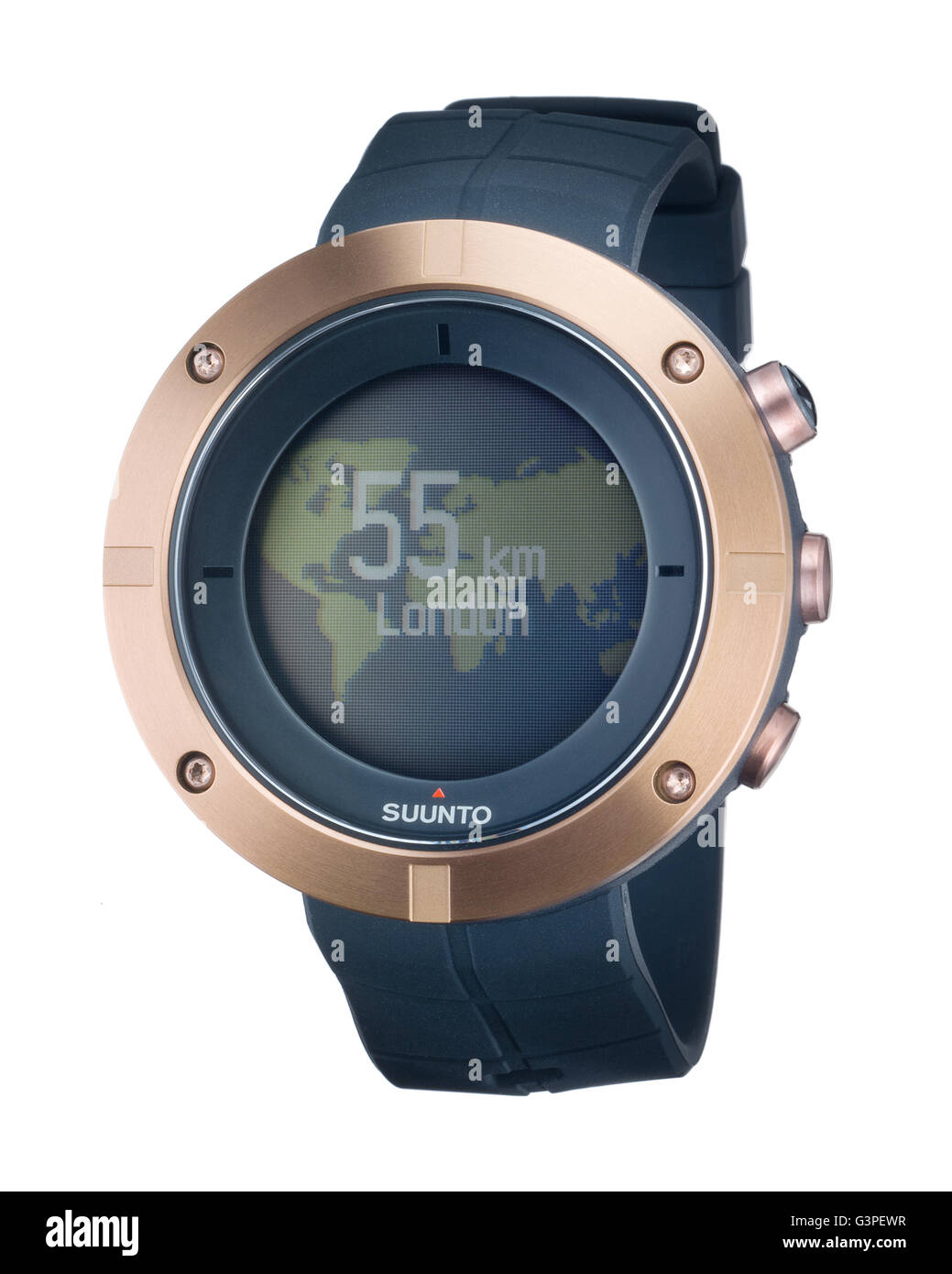 Suunto Kailash Copper travelers watch. Smartwatch tracks travel and connection to Apple iPhone. - Stock Image