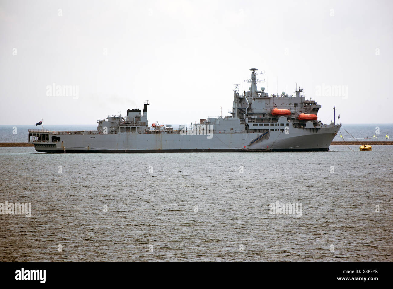 PLYMOUTH SOUND DEVON UK  The Royal Fleet Auxiliary ship QFA Argus at anchor. The ship is a Primary Casualty Receiving - Stock Image