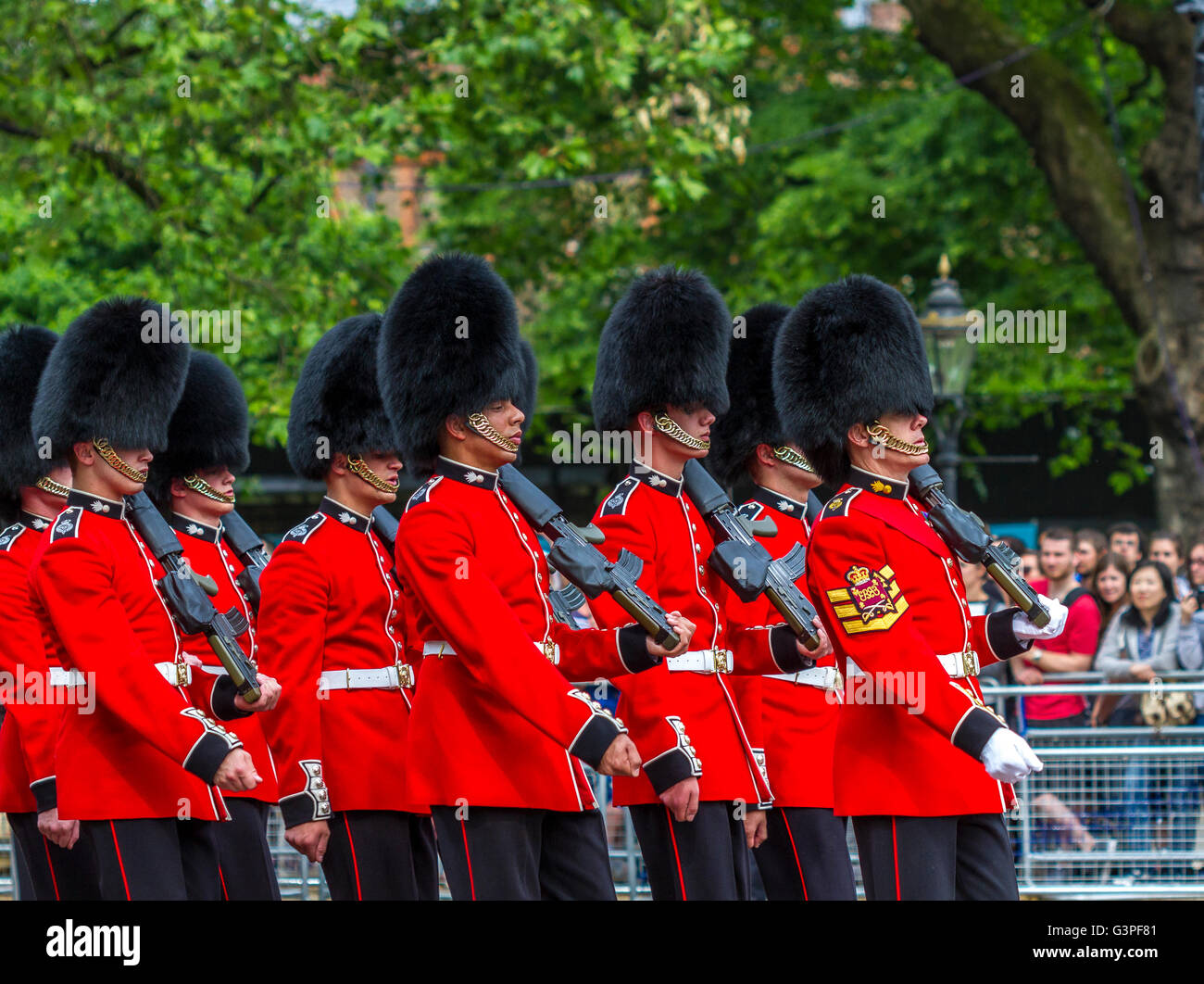 Grenadier Guards Marching at The Queens Birthday Parade 2016 also known as The Trooping Of The Colour , The Mall - Stock Image