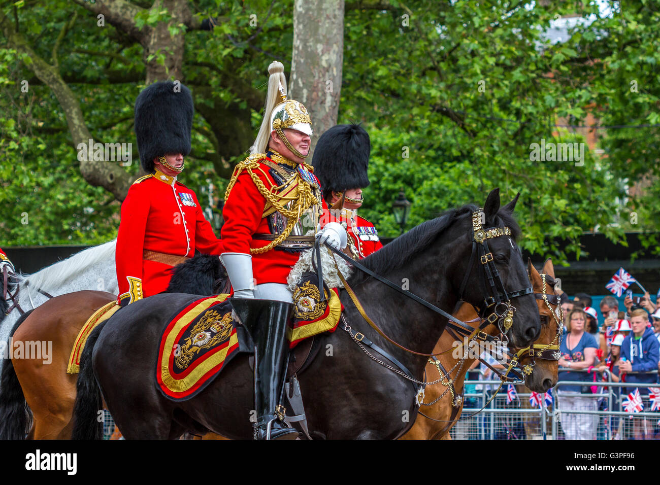 Field Marshall Lord Guthrie on horseback riding down the Mall at The Queens Birthday Parade also known as Trooping Stock Photo