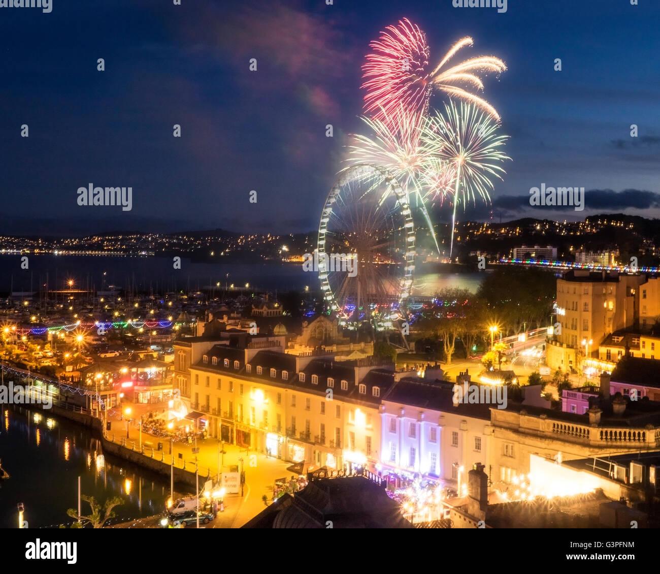 GB - DEVON (English Riviera): Fireworks over Torquay showing Paignton in background Stock Photo