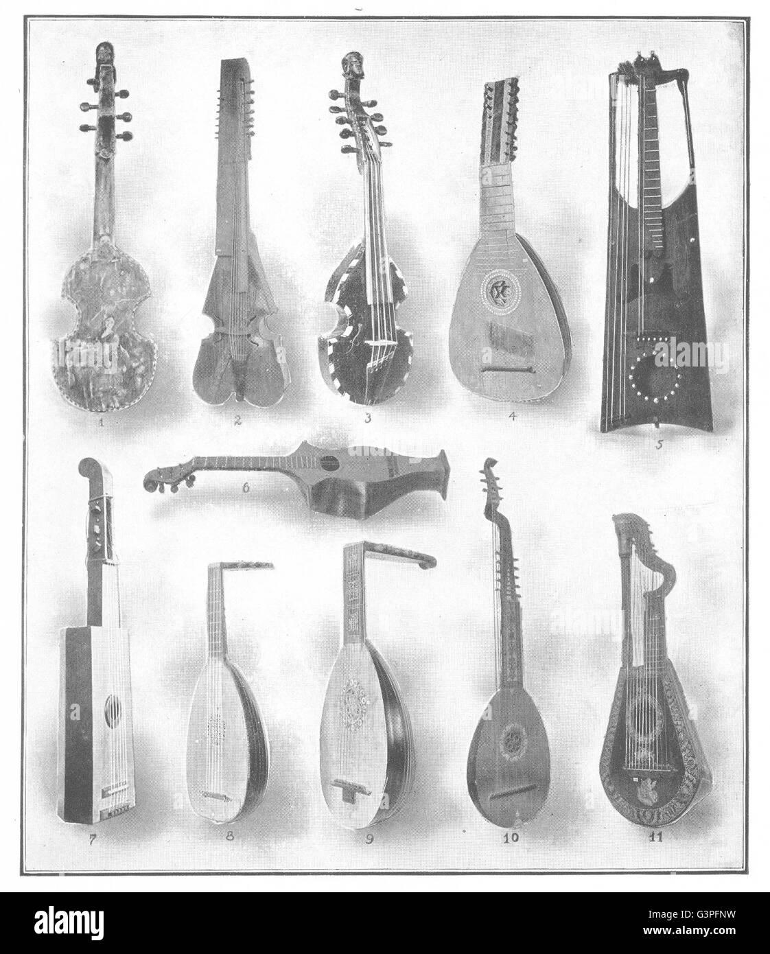 FRANCE: Alto viol Baryton Pochette Amour Mandora guitar Harp Lute Theorbo, 1907 - Stock Image
