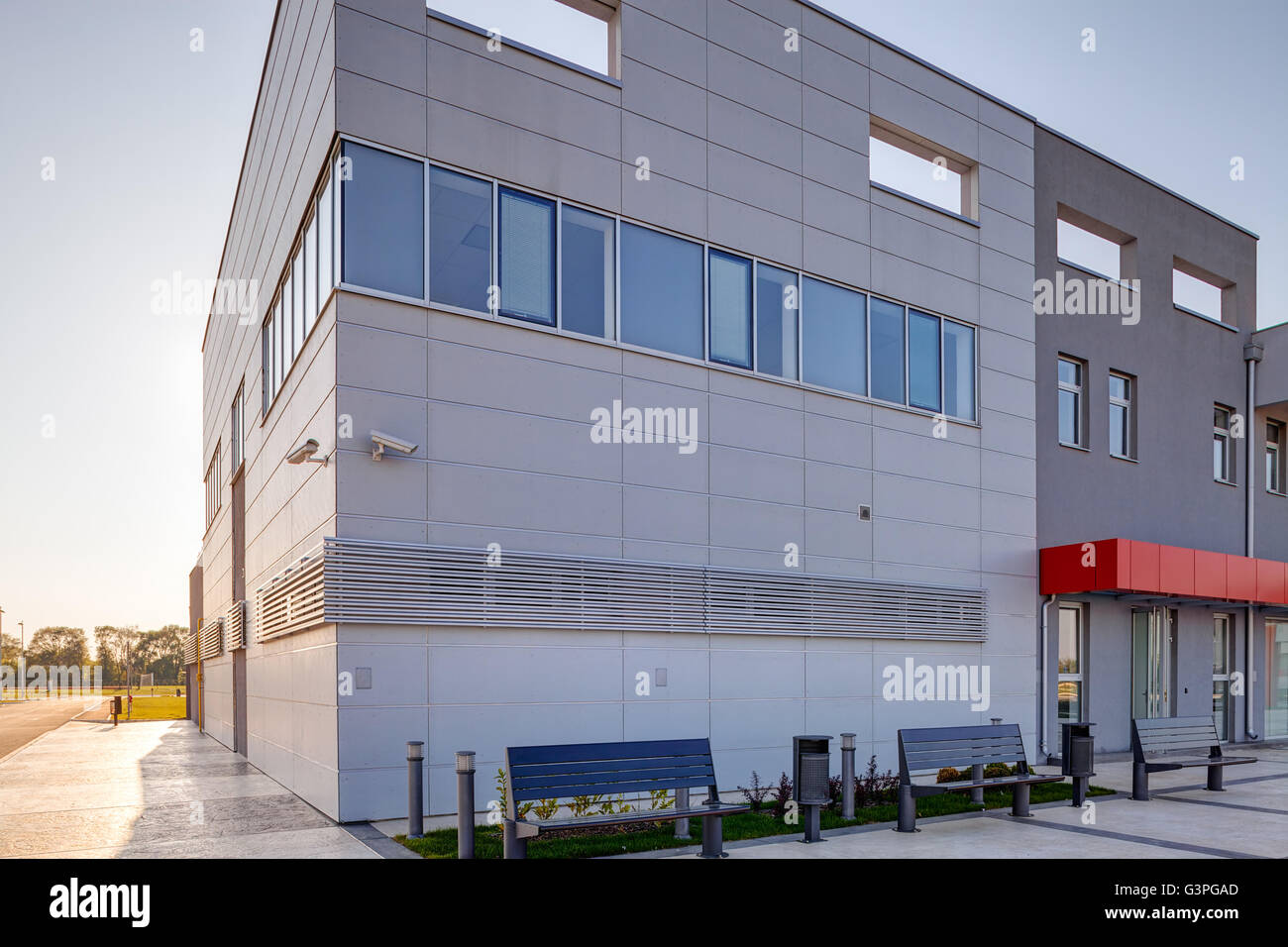 Perspective view of modern and contemporary building in exterior ...