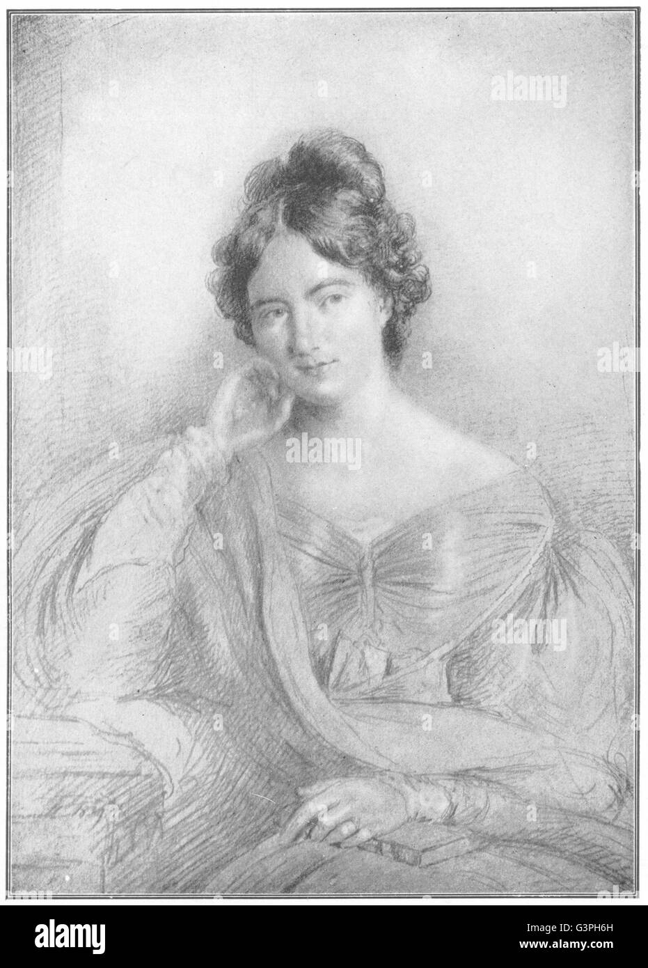 AUTHORS: Jane Austen, antique print 1907 - Stock Image