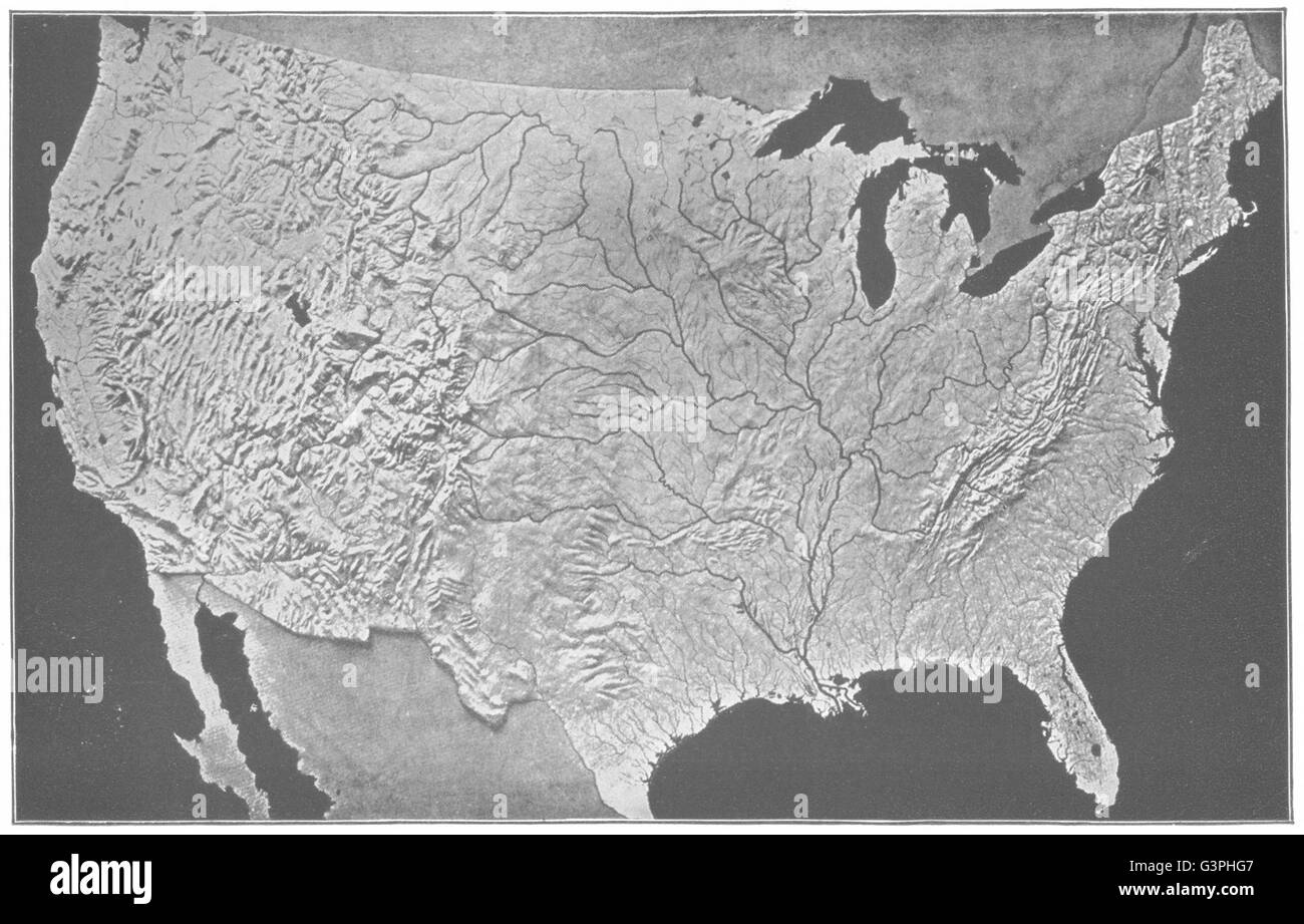 Relief map black and white stock photos images alamy usa relief map us modeled s survey antique print 1907 stock gumiabroncs Gallery