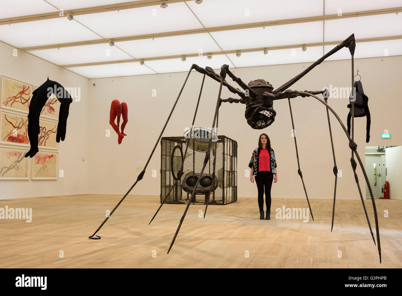 A tate modern employee looks at a spider sculpture by louise bourgeois press preview of the new building the switch house at tate modern which will open