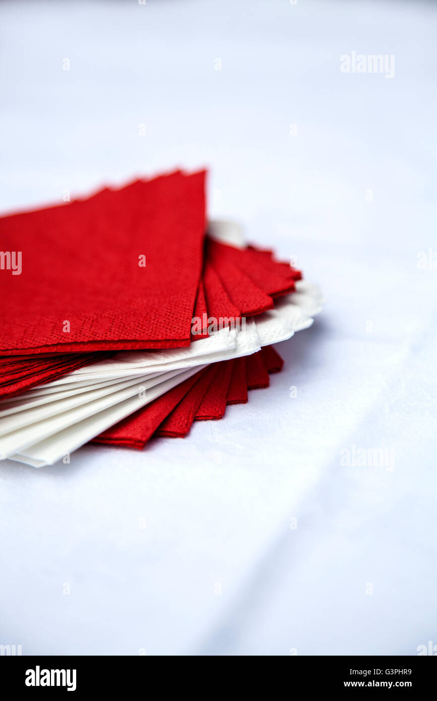 Red and white napkins - Stock Image