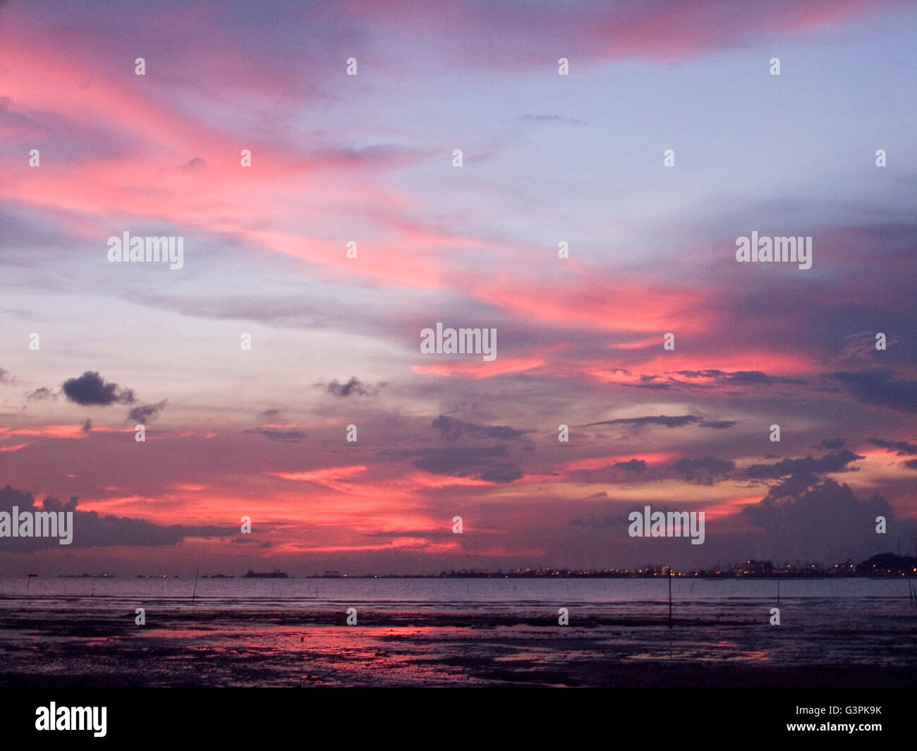 sunset cloud red blue wetlands Afterglow beautiful landscape hong kong sea - Stock Image