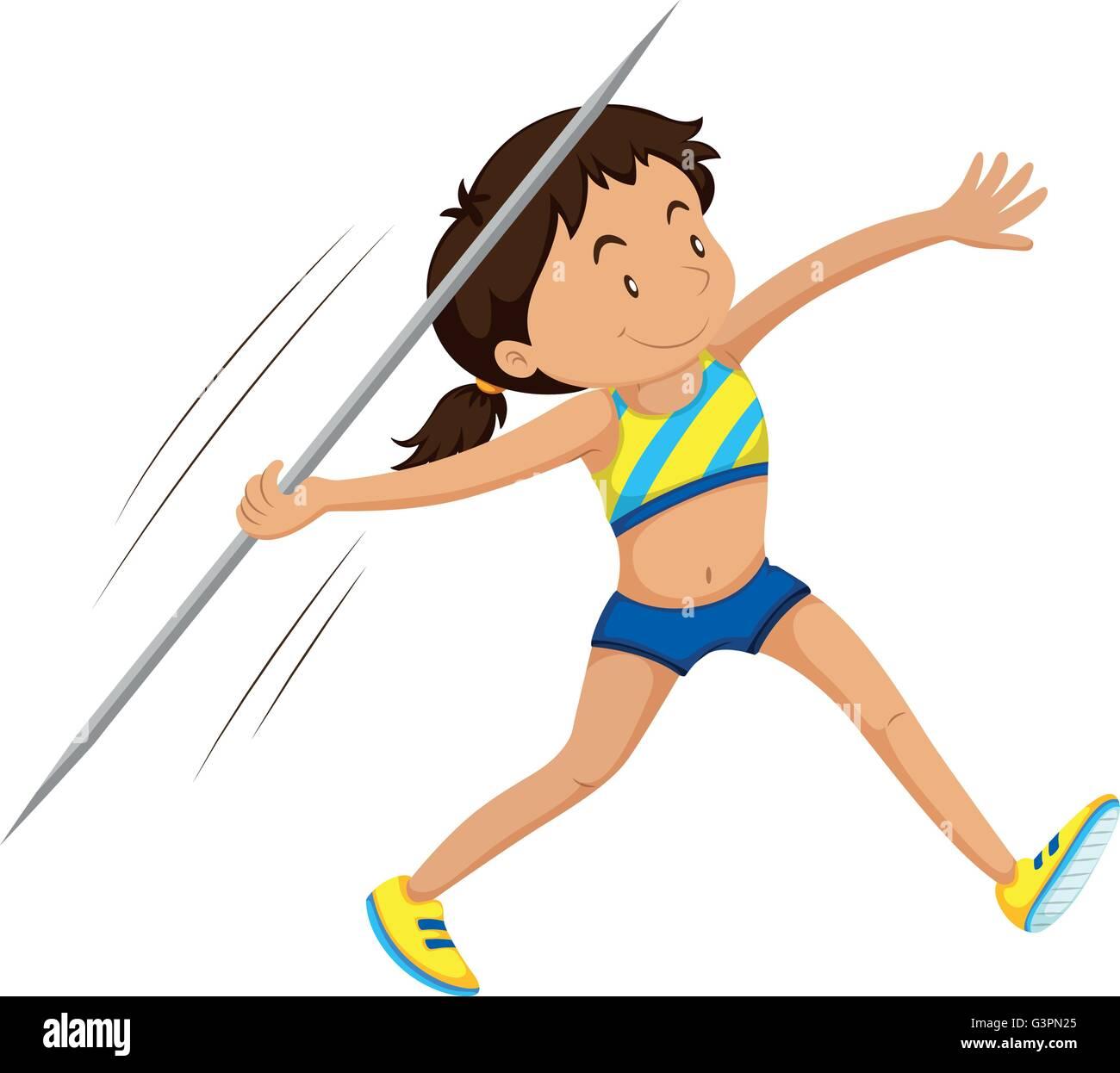 Woman athlete doing javelin illustration Stock Vector