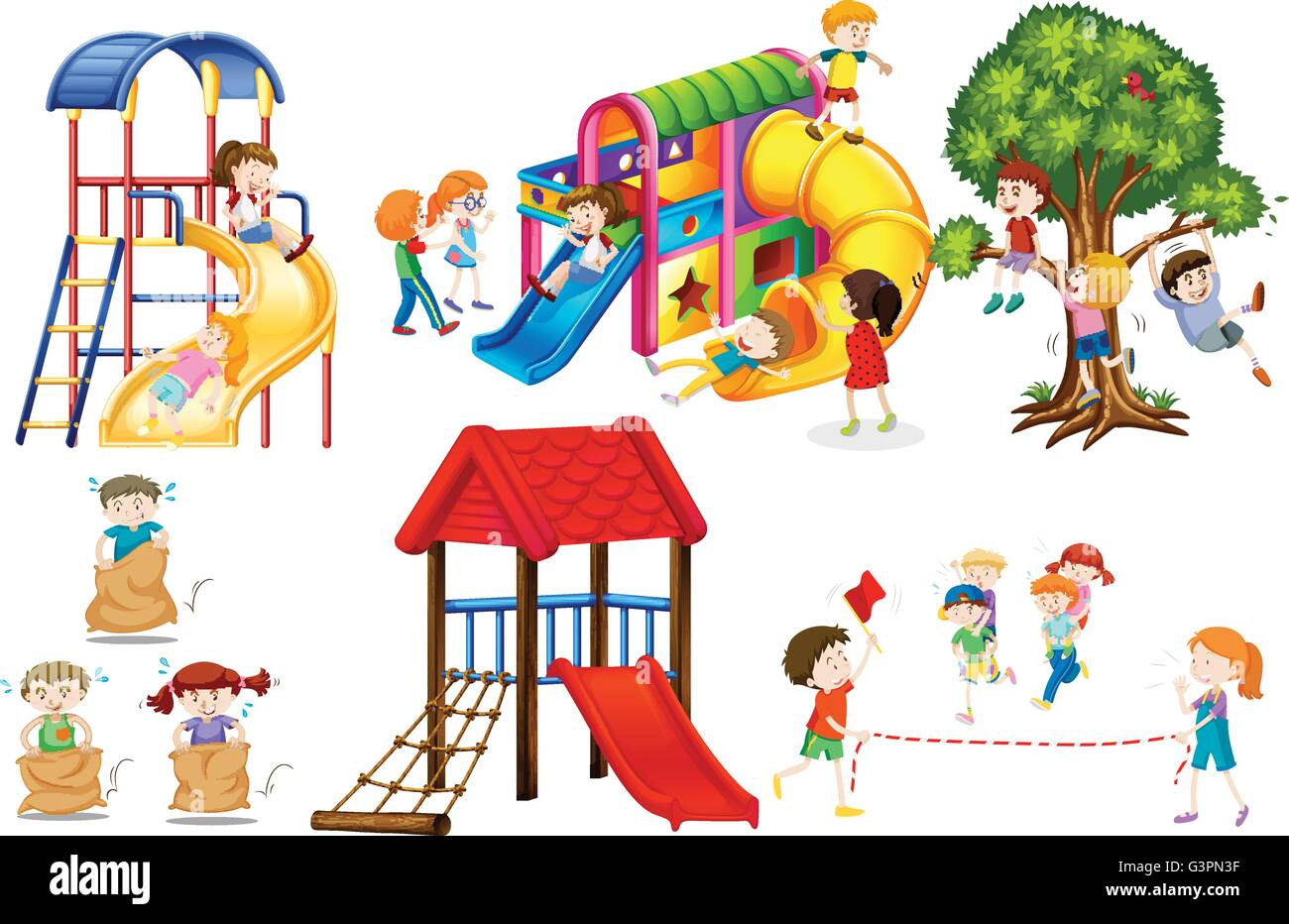 Kids playing games and playing slides illustration - Stock Vector
