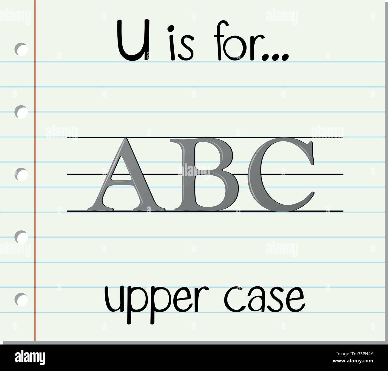 Flashcard letter U is for upper case illustration - Stock Vector