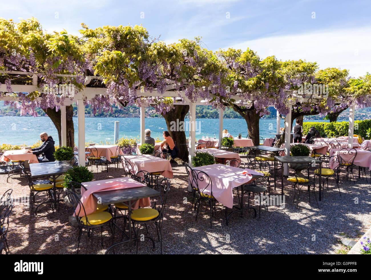 Italy Lombardy Como Lake Bellagio Restaurant Stock Photo