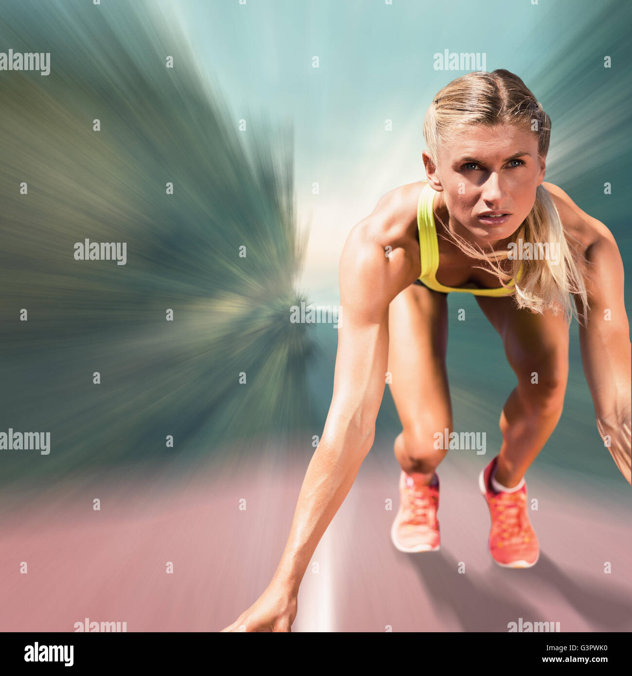 Composite image of sportswoman starting to sprint - Stock Image