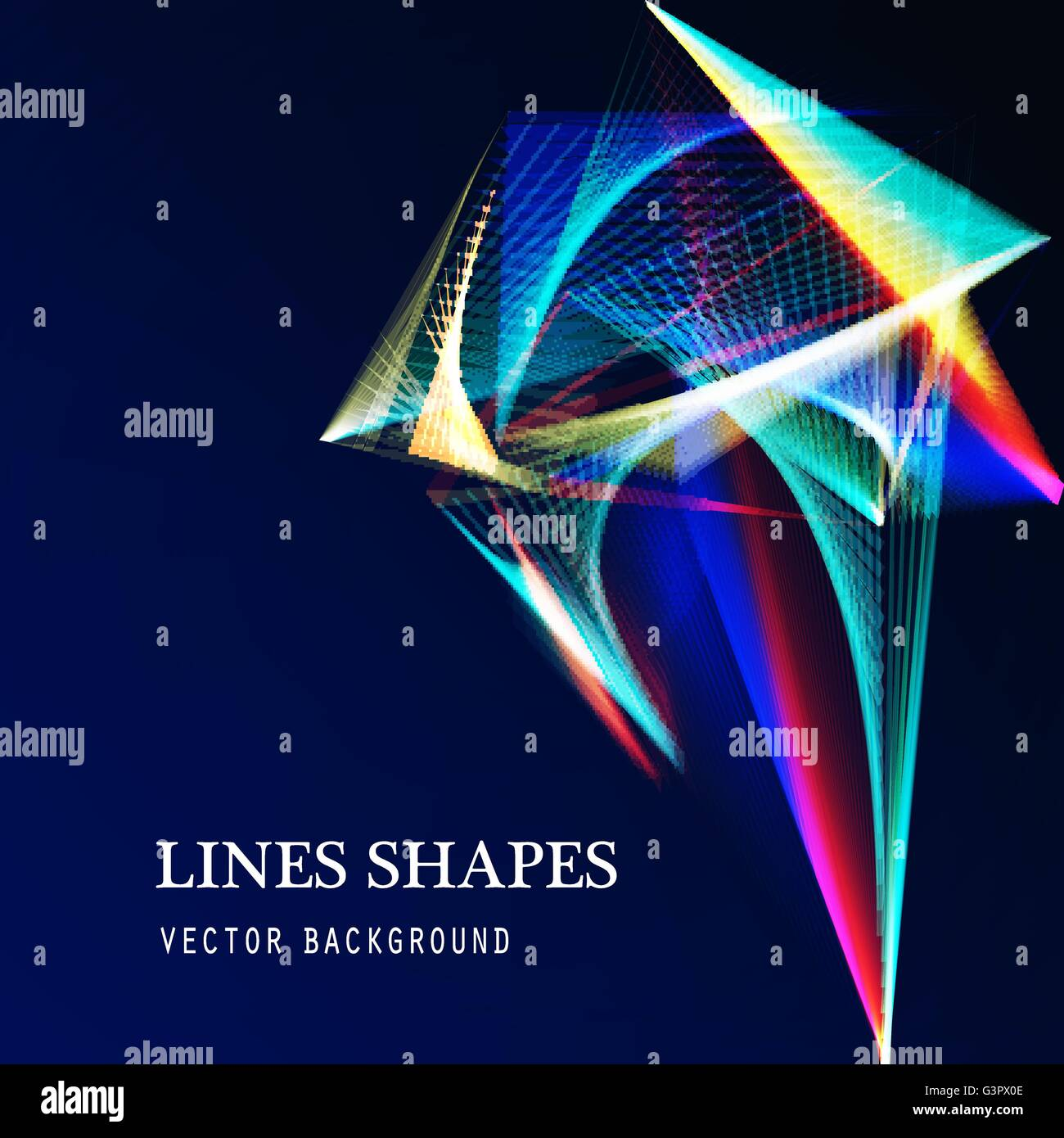 Lines shapes light abstract on blue dark background. Vector expanding light. Smooth abstract background with a slight - Stock Image