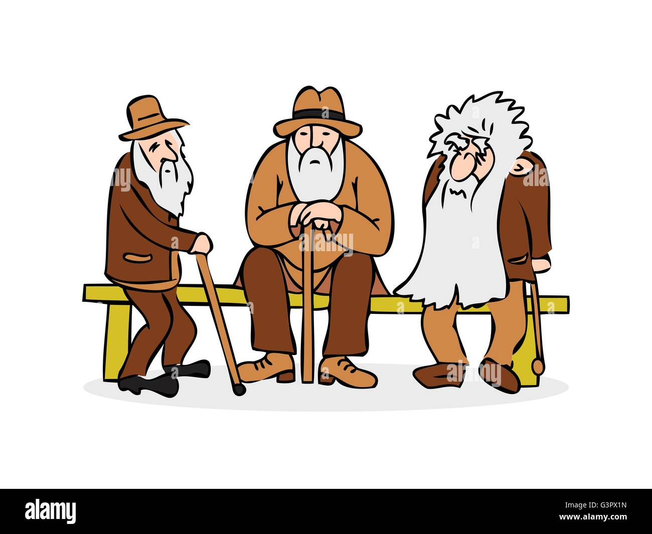 Funny three old men sitting on the bench. Old man with hat and walking cane. Sad grandfather with a long beard sitting - Stock Vector